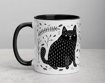 COFFEE MUG Black Cat Folk Art Print Housewarming Birthday Gifts Illustration Funny Cute Weird Stuff Quirky Tea Gift Ceramic Tea Halloween