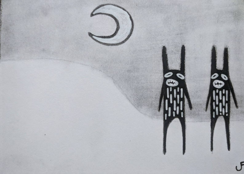 Original Monster ACEO Outsider Folk Art Illustration Abstract image 0