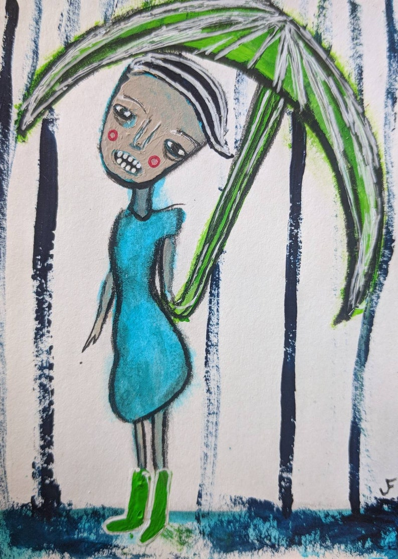 ACEO Original Painting Outsider Folk Art Miniature Collectible image 0