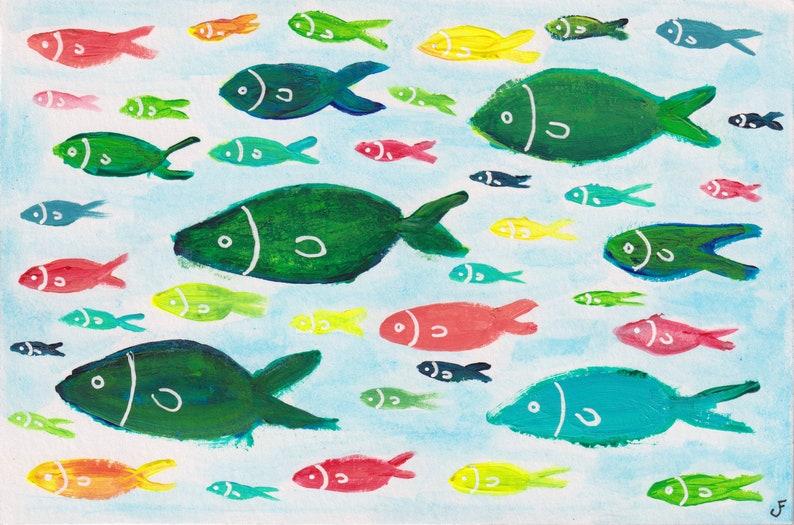 4x6 ORIGINAL ART Whimsical Fish Painting Outsider Art image 0