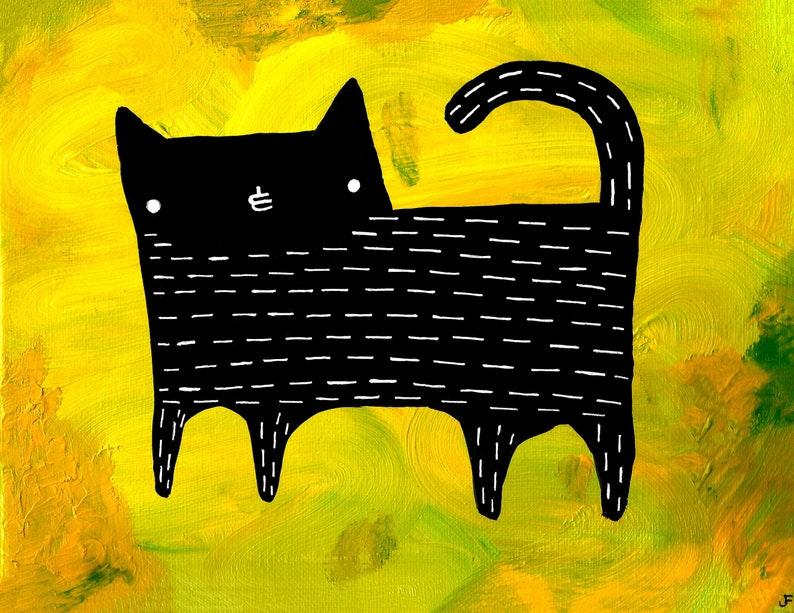 8.5X11 PRINT Cat Art Black Cat Folk Art Painting Quirky image 0