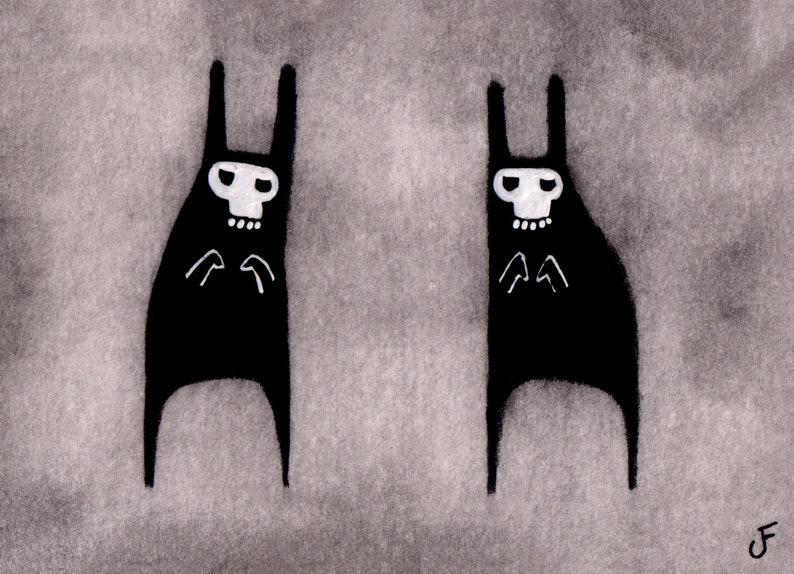 ACEO ART PRINT Black Rabbit Skull Mask Monster Outsider Folk image 0