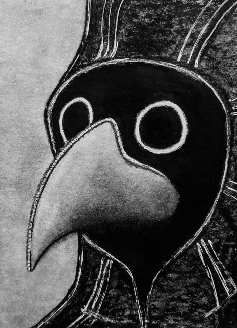 ACEO ORIGINAL ART Plague Doctor Mask Painting Outsider Folk image 0