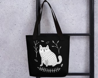 TOTE BAG White Cat Art Print Plants Birthday Housewarming Whimsical Cute Quirky Weird Accessories Gifts for Cat People Grocery Bag Botanical
