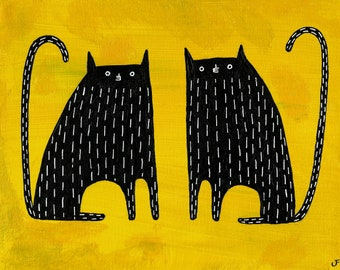 """8x10"""" ART PRINT Black Cat Folk Art Painting Quirky Housewarming Gifts Outsider Art Whimsical Home Decor Animals Funny Cat People Gifts"""