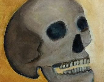 "8X10"" ORIGINAL ART Skull Painting Stretched Canvas, Human Skeleton Anatomy Outsider Folk Art Acrylic Paintings Weird Stuff Strange Oddities"