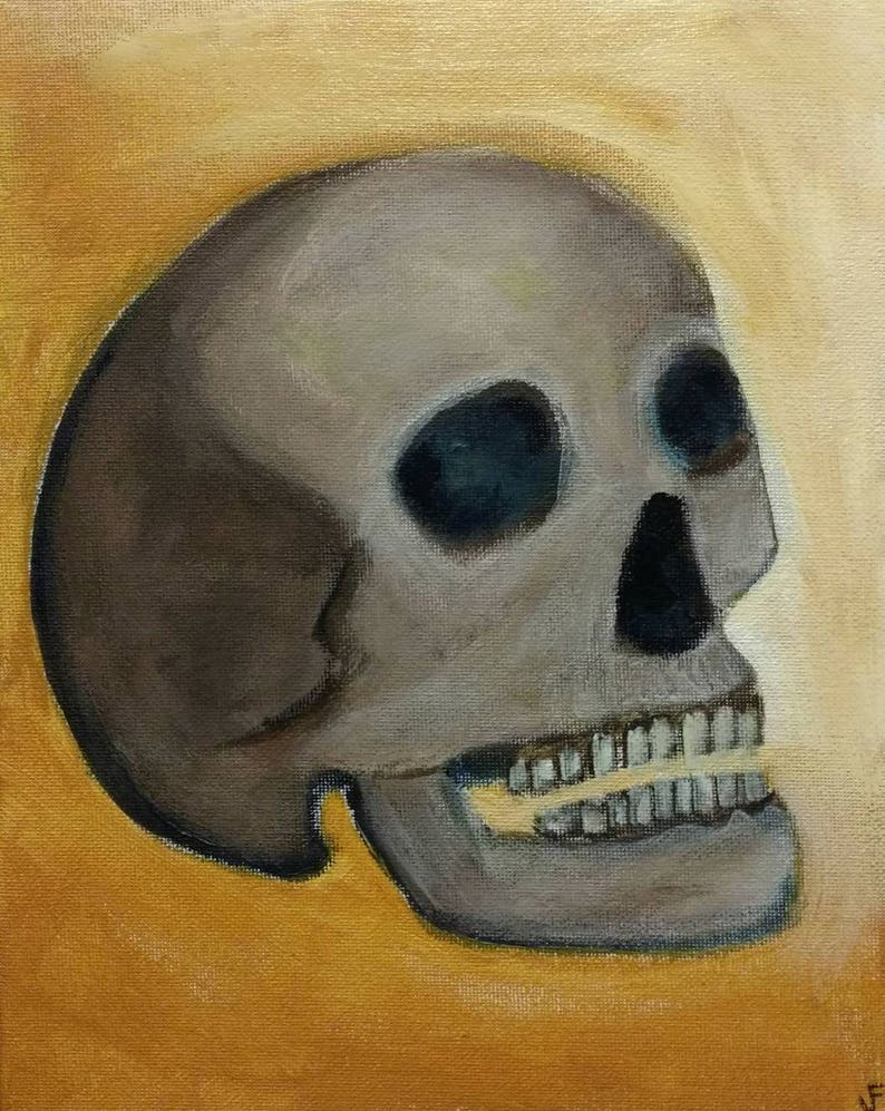 Skull Original Painting Stretched Canvas 8x10 Human Skeleton image 0