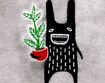 ACEO ART PRINT Hoya Rabbit Monster Folk Art Trading Card Cute Plants Gifts Funny Birthday for Mom Housewarming Spring Plant Houseplants atc