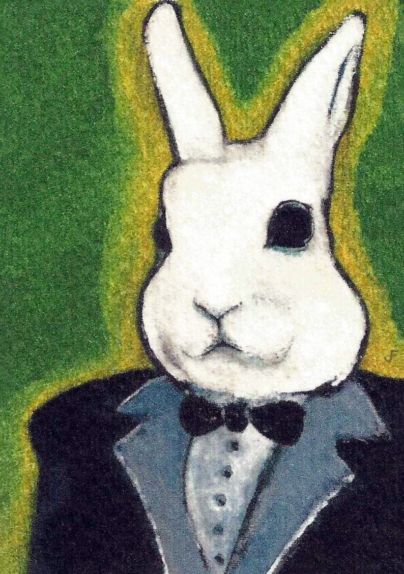 ACEO ART PRINT White Rabbit in Tuxedo Spring Paintings Folk Art Cute Illustration Trading Card Whimsical Housewarming Funny Birthday Gifts