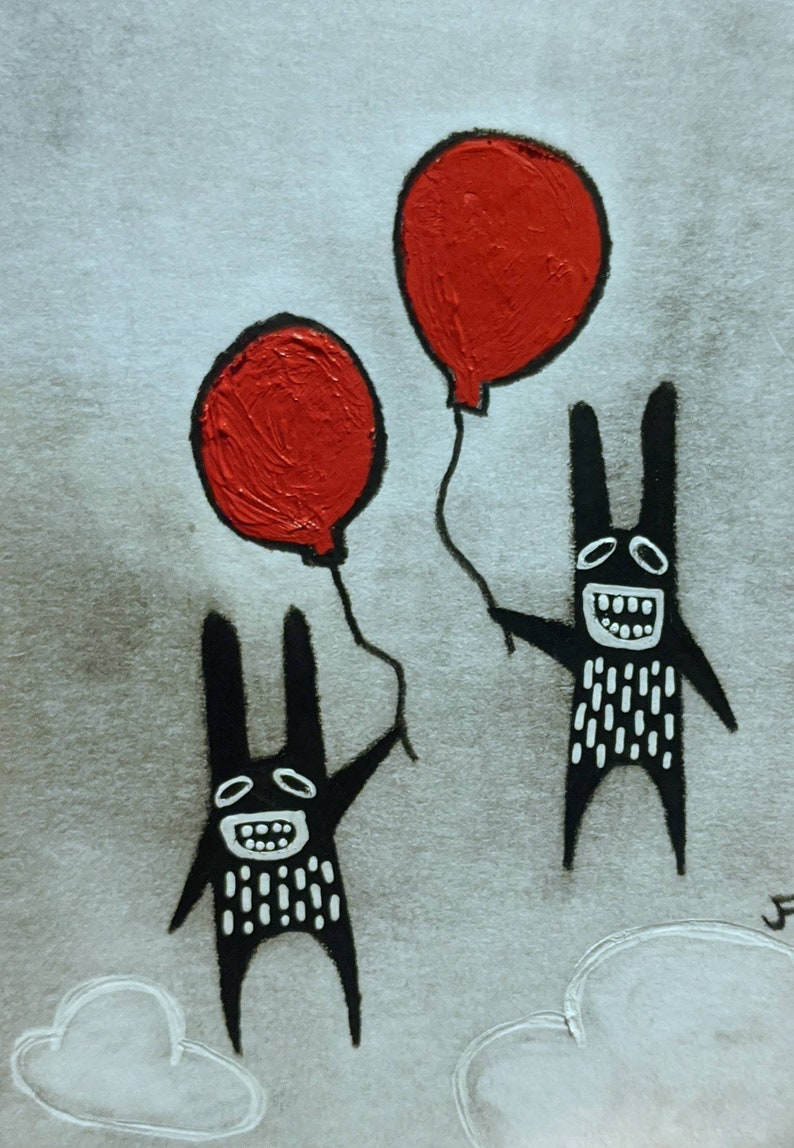 ACEO Flying Balloon Monster Original Quirky Rabbit image 0