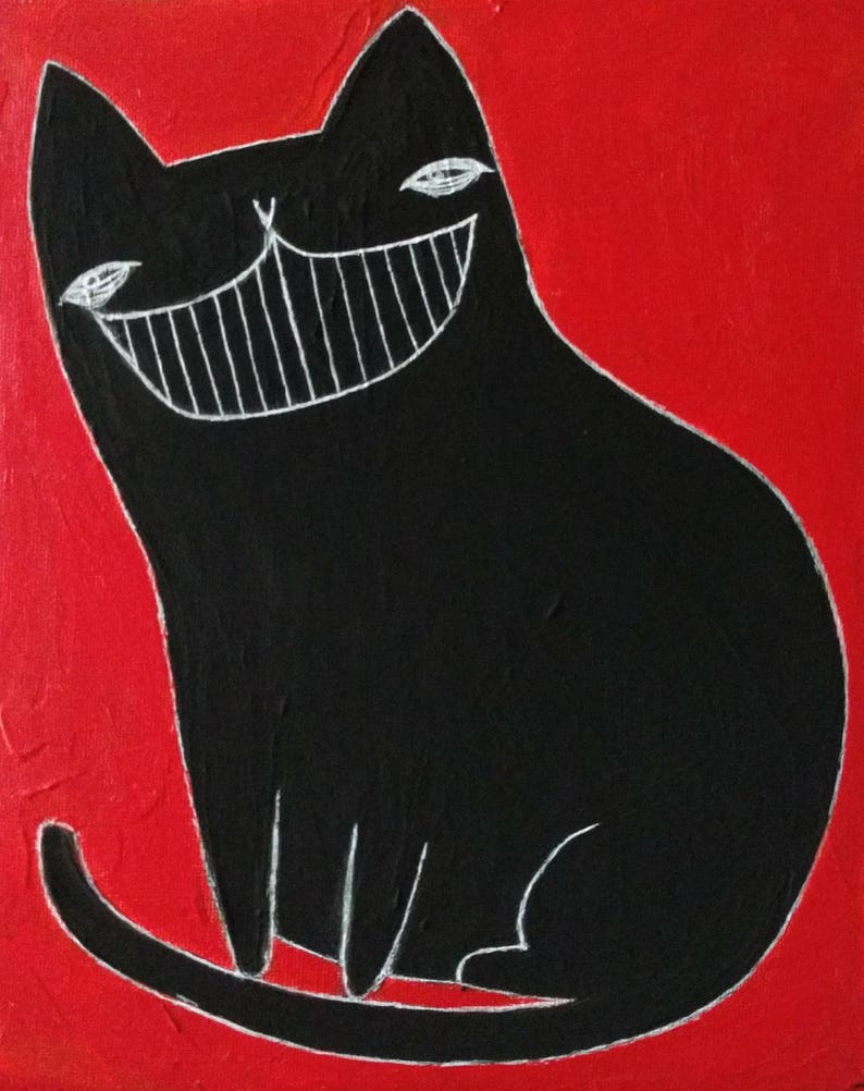 8X10 ORIGINAL ART Black Cat Painting Stretched Canvas image 0