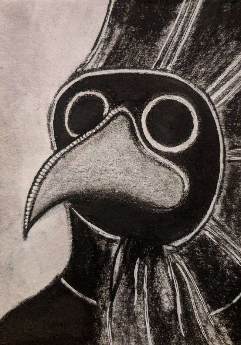 Plague Doctor Mask Original Painting ACEO Outsider Folk Art image 0