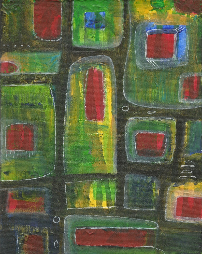 8X10 ORIGINAL ART Painting Canvas Folk Abstract Acrylic image 0