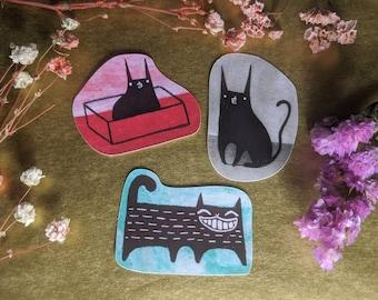 PAPER STICKERS Black Cat Folk Art Miniature Collectible Cute Illustration Funny Birthday Gifts Weird Stuff Housewarming Odd Stationery