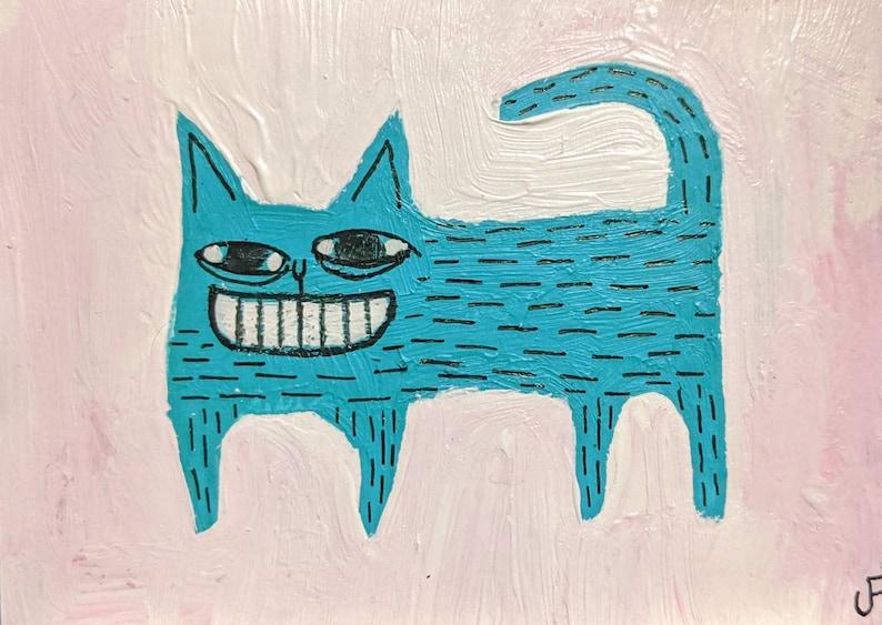 ACEO ORIGINAL Blue Cat Folk Art Acrylic Painting Mixed Media image 0