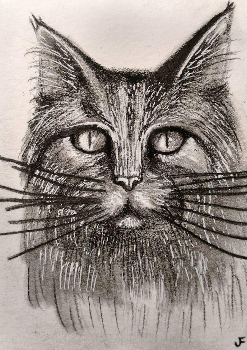Tabby Cat ACEO Original Cat Art Miniature Collectible Cat image 0