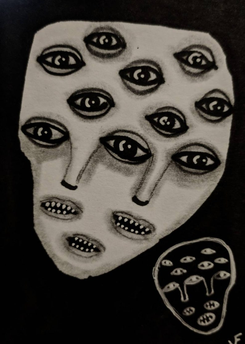 ORIGINAL ACEO Monster Outsider Folk Art Mixed Media image 0