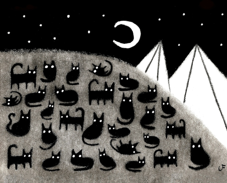 8x10 ART PRINT Black Cat Moon Folk Art Painting Quirky image 0