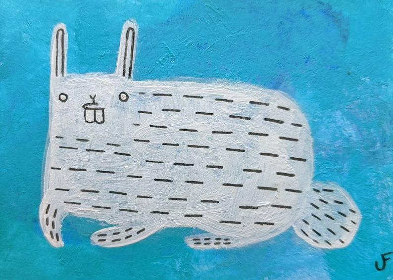 ACEO ORIGINAL ART White Rabbit Folk Art Acrylic Painting image 0