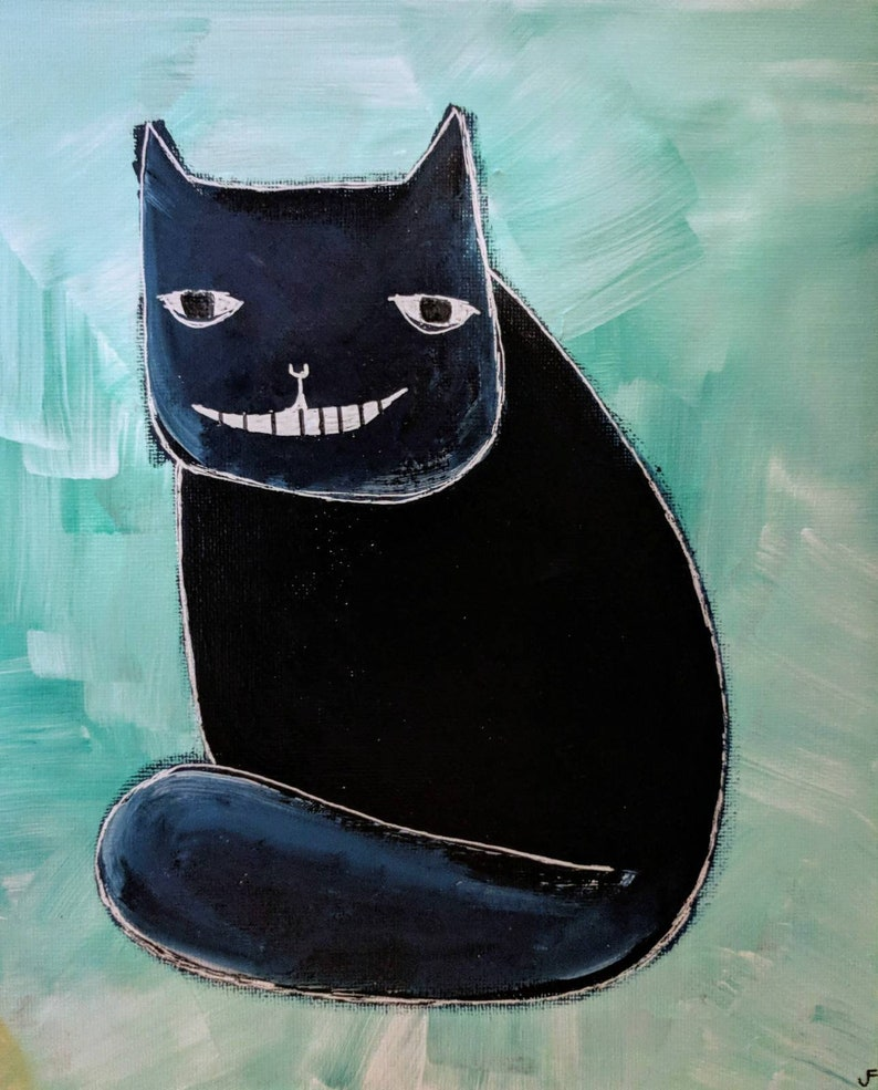Cat Folk Art Original Painting Stretched Canvas 8x10 OOAK image 0
