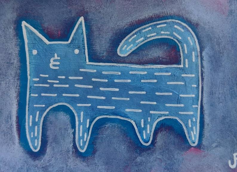 ACEO ORIGINAL Purple Cat Folk Art Acrylic Painting Mixed Media image 0