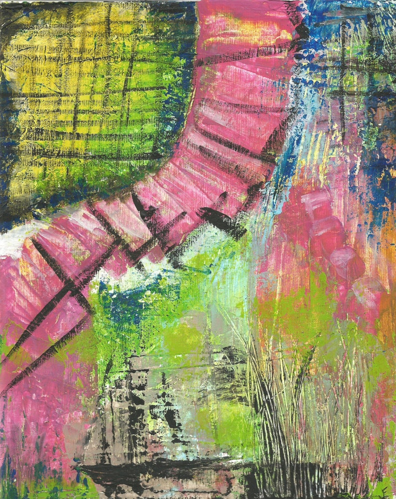 8X10 ORIGINAL ART Painting Canvas Mixed Media Abstract image 0