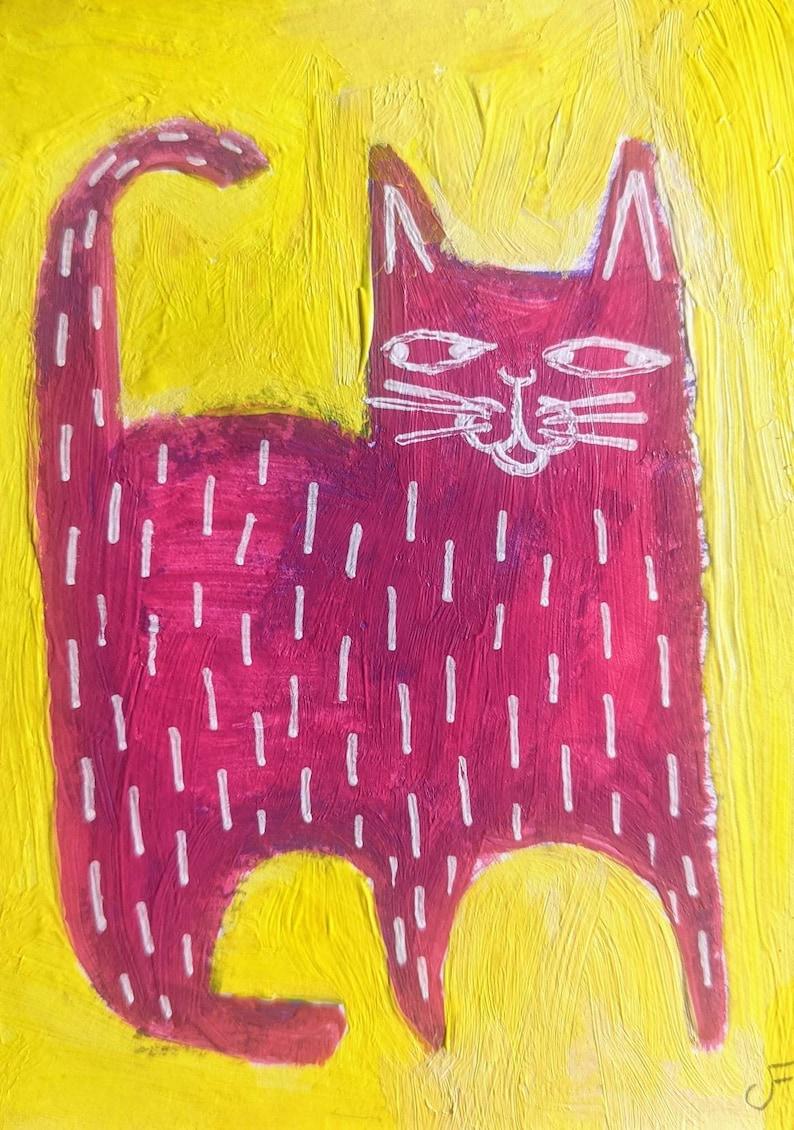 ACEO ORIGINAL Pink Cat Folk Art Acrylic Painting Mixed Media image 0