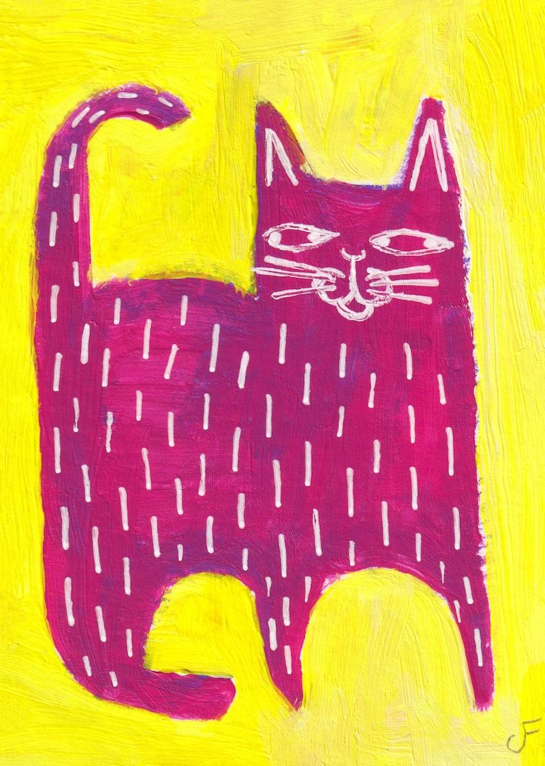 ACEO ART PRINT Pink Cat Folk Art Paintings Canada Miniature image 0