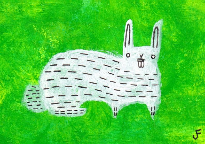 ACEO ART PRINT White Rabbit Spring Paintings Outsider Folk image 0