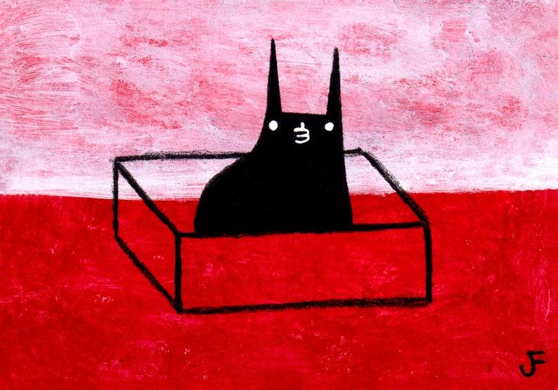 ACEO ART PRINT Black Cat in Box Folk Art Miniature Collectible image 0