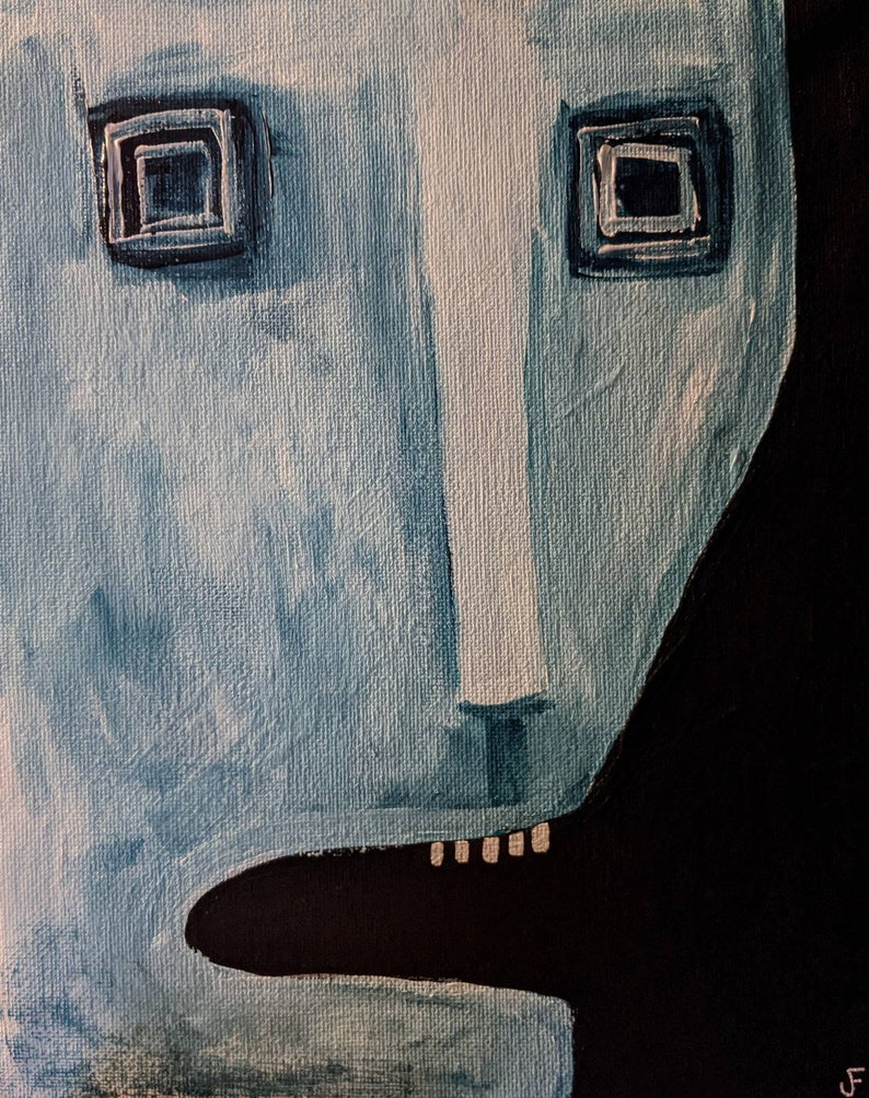 8X10 ORIGINAL ART Painting on Stretched Canvas Monster image 0