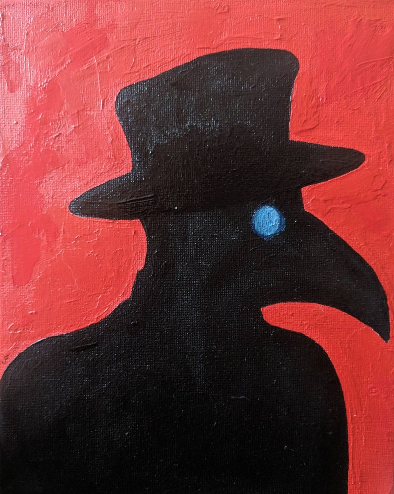 Plague Doctor Mask Original Painting 8x10 Stretched Canvas image 0