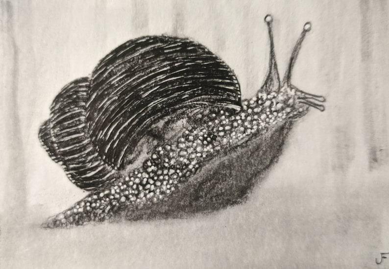 ACEO Original Snail Outsider Folk Art Illustration Cute image 0