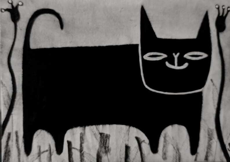 Black Cat Original ACEO Folk Outsider Art Cat Miniature image 0