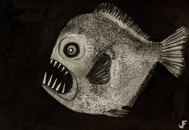 ACEO Deep Sea Fish Original Pencil Drawing Outsider Art image 0