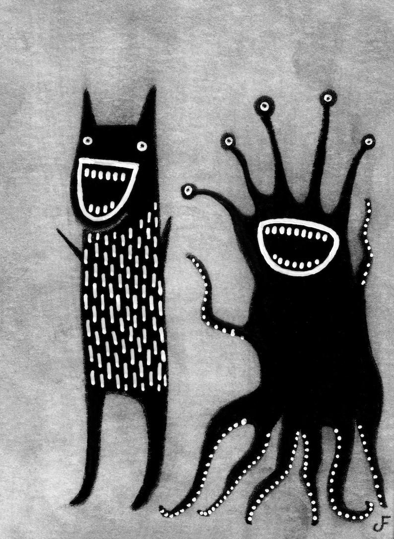ACEO ART PRINT Monster Illustration Outsider Folk Art Trading image 0