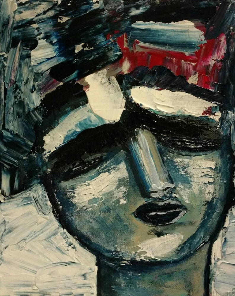 Abstract Original Painting Portrait Impressionist Art image 0