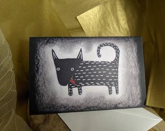 GREETING CARD Black Dog Folk Art Blank Card Whimsical Illustration Weird Stuff Cute Housewarming Birthday Gifts Quirky Valentine Card Canada