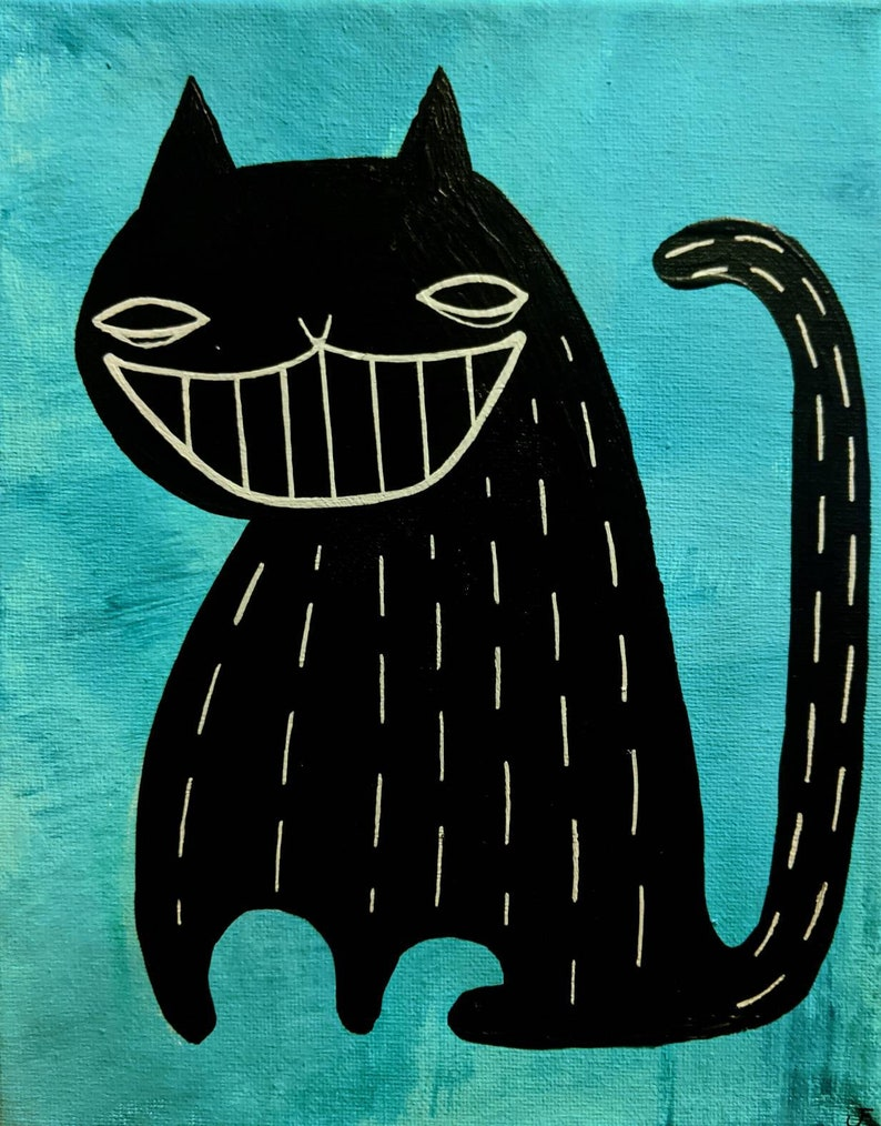 8X10 Cat Folk Art Original Painting Stretched Canvas Gift image 0