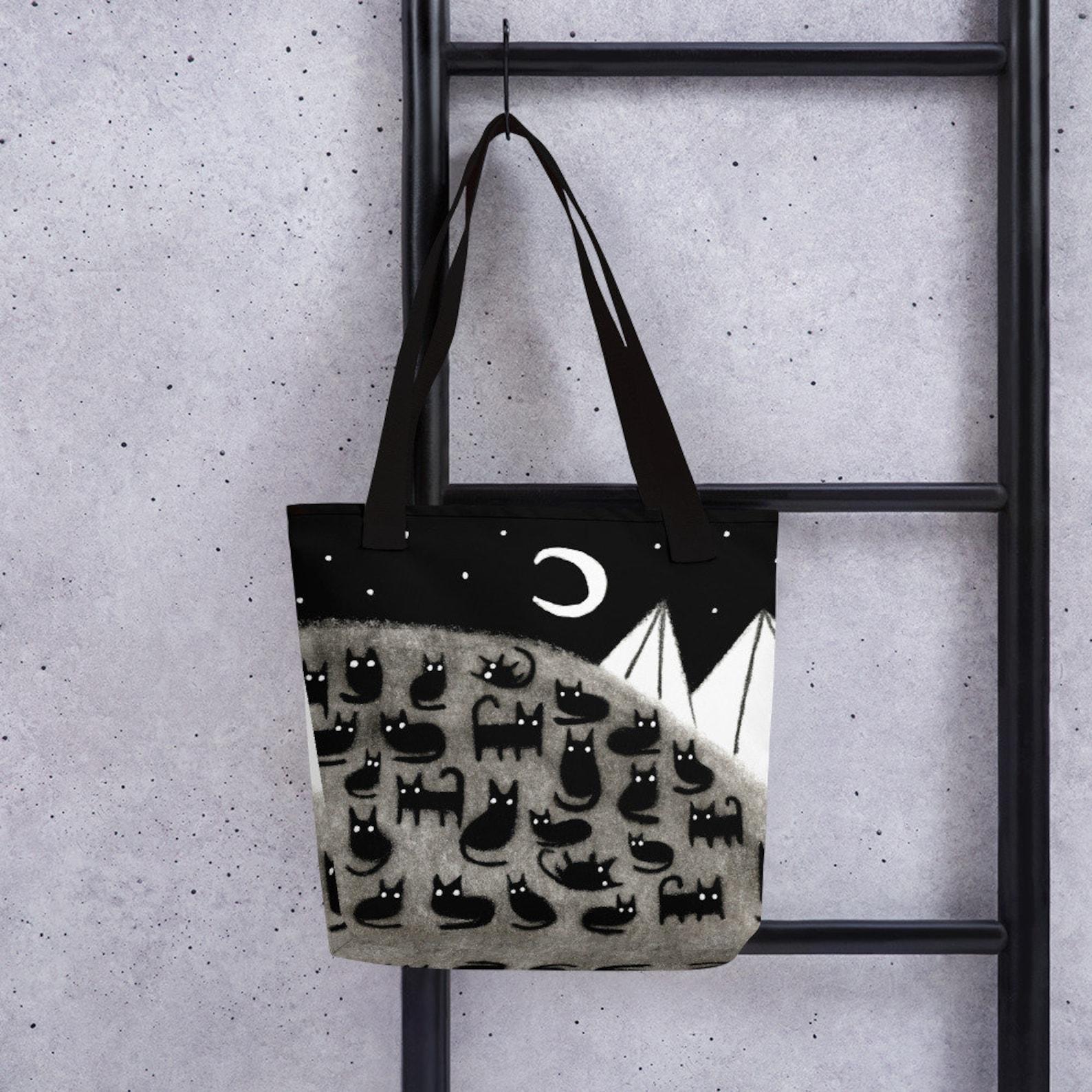 Black Cat Moon Tote Bag
