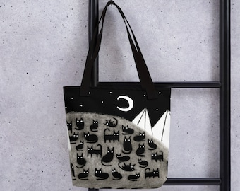 TOTE BAG Black Cat Moon Birthday Housewarming Gifts Whimsical Crescent Moon Cute Quirky Weird Gifts for Cat People Bag Mountain Halloween