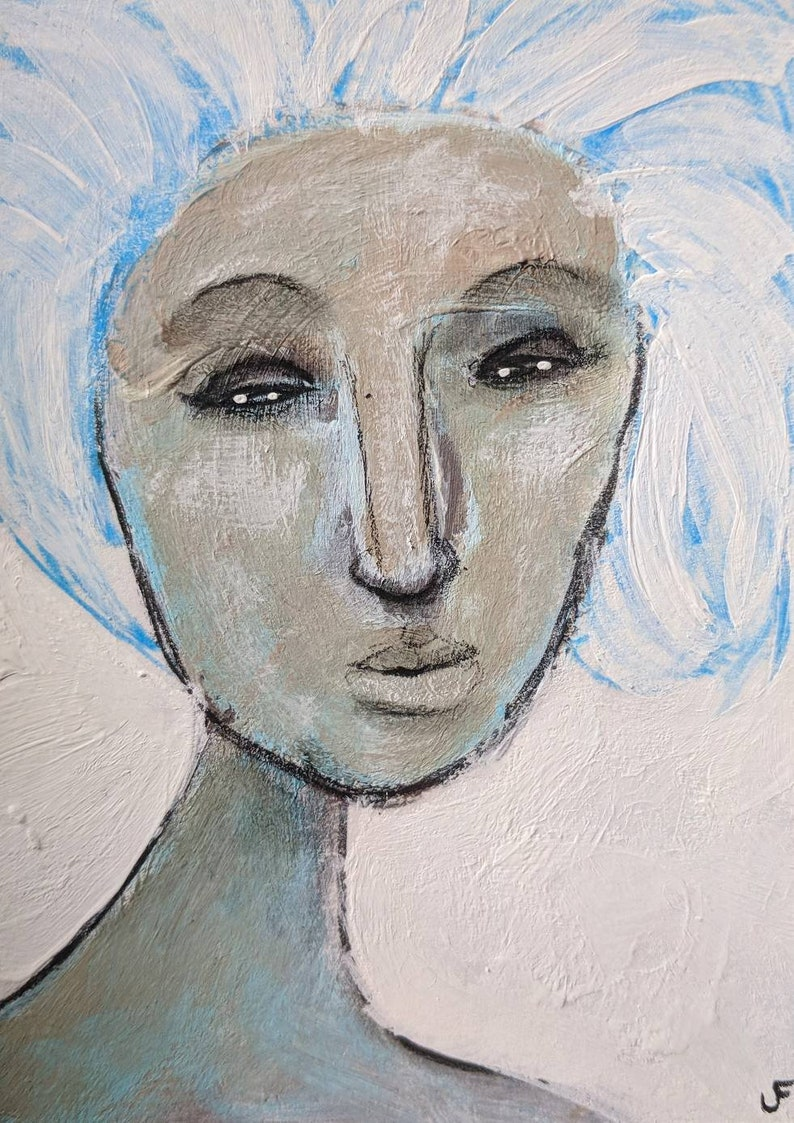 Original Painting Abstract Portrait ACEO Outsider Folk Art image 0