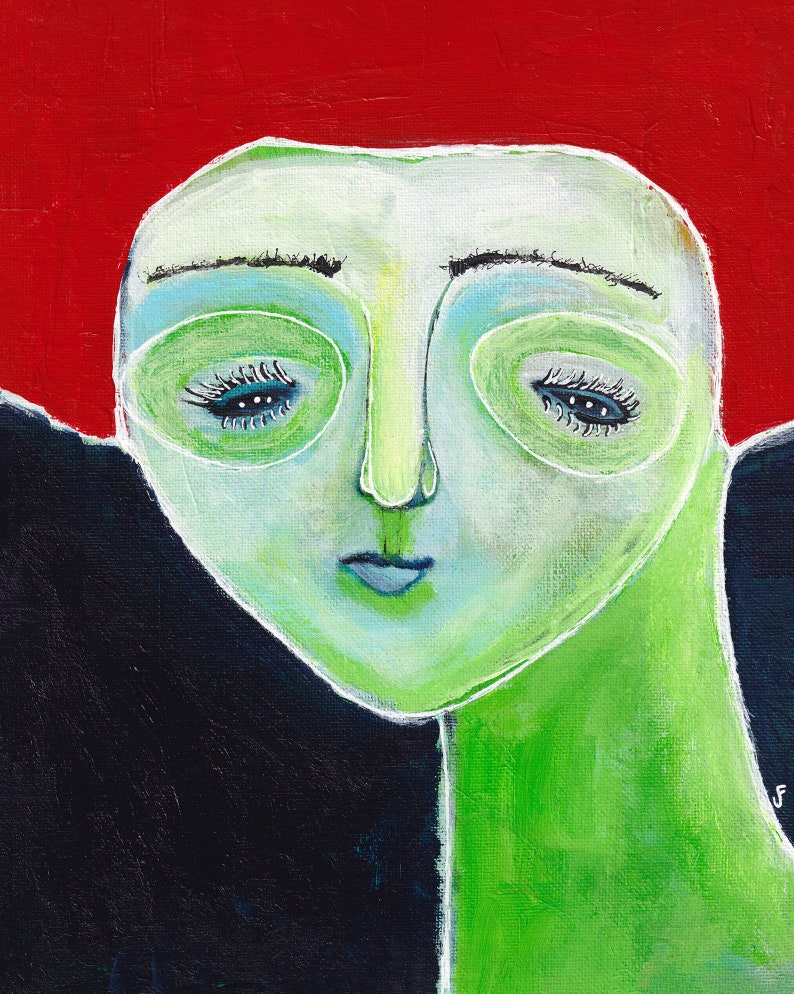 8x10 ART PRINT Portrait Folk Art Painting Abstract image 0