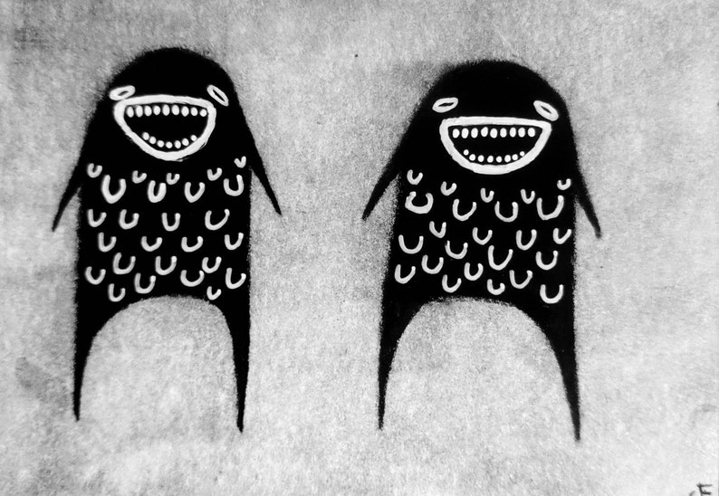 Monster Original Paintings Monsters ACEO Outsider Folk Art image 0