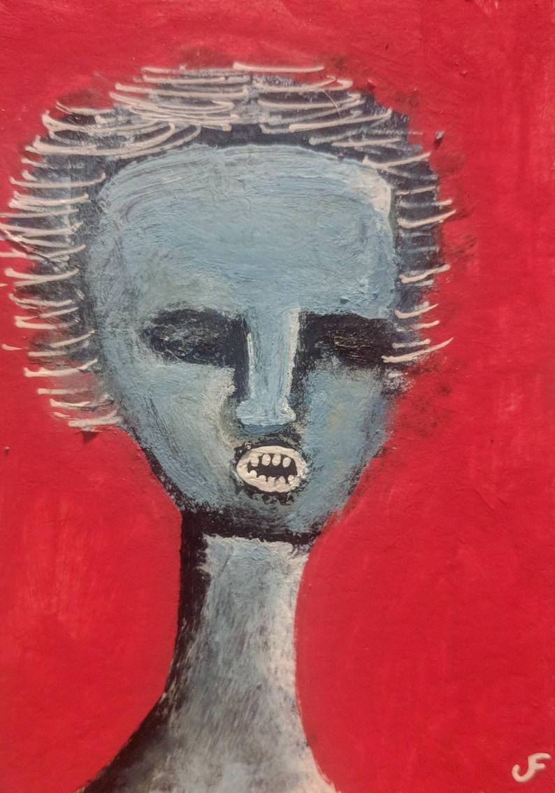 Original Monster Art ACEO Mixed Media Horror Outsider Folk Art image 0