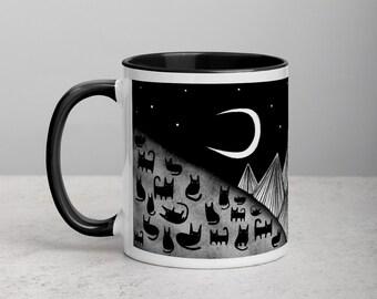 Black Cat Coffee Mug Folk Art Print Housewarming Birthday Gifts Illustration Funny Cute Weird Stuff Quirky Tea Gift Ceramic Halloween Mug