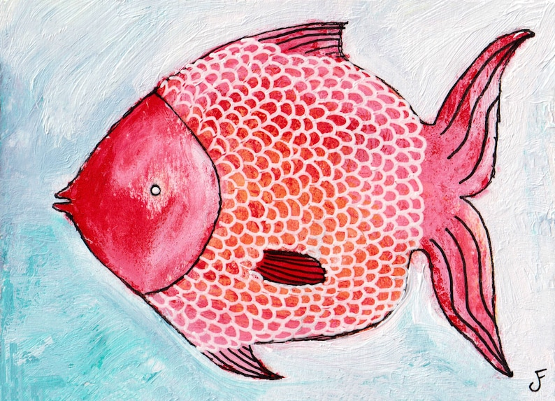 ACEO ART PRINT Red Herring Whimsical Fish Painting image 0