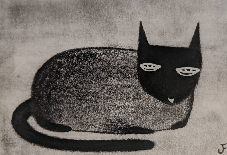 ACEO ORIGINAL ART Black Cats Funny Cat Art Birthday Gifts for image 0
