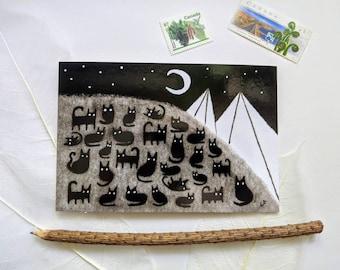4x6 ART PRINT POSTCARD Black Cat Crescent Moon Folk Painting Quirky Housewarming Best Friend Gift Whimsical Home Decor Birthday Halloween