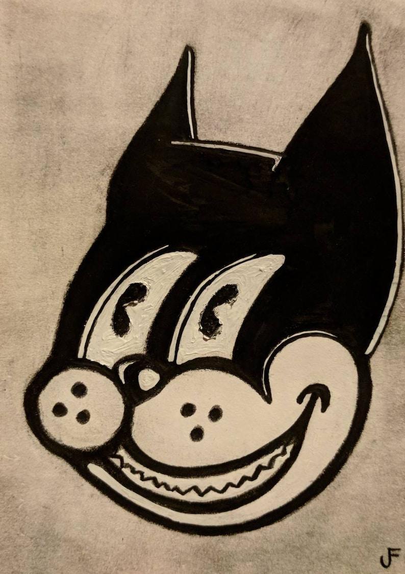 ACEO Cat Original Mixed Media Outsider Folk Art Vintage Retro image 0